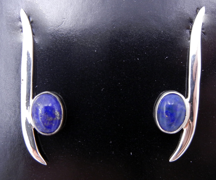 Navajo Contemporary Lapis and Sterling Silver Earrings