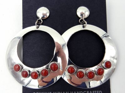 Navajo sterling silver and coral circular cut out earrings