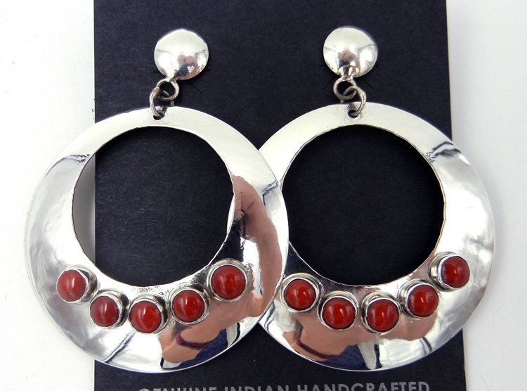Navajo Large Sterling Silver and Coral Circular Cut Out Earrings