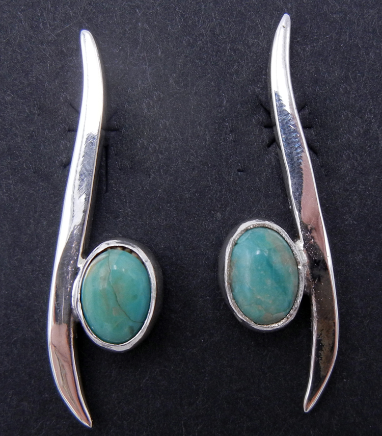 Navajo Contemporary Turquoise and Sterling Silver Earrings