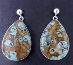 Navajo Boulder Turquoise and sterling silver earrings