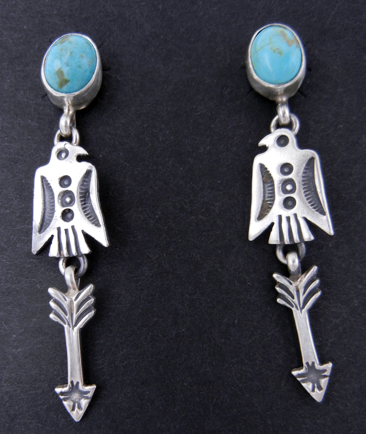 Navajo Turquoise and Brushed Sterling Silver Thunderbird and Arrow Dangle Earrings