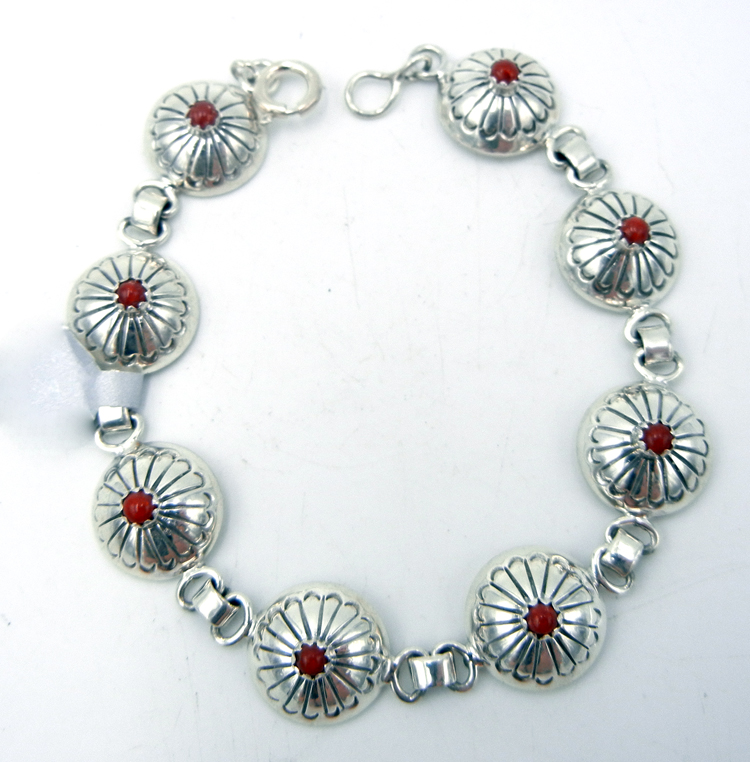 Navajo concho style sterling silver and coral link bracelet