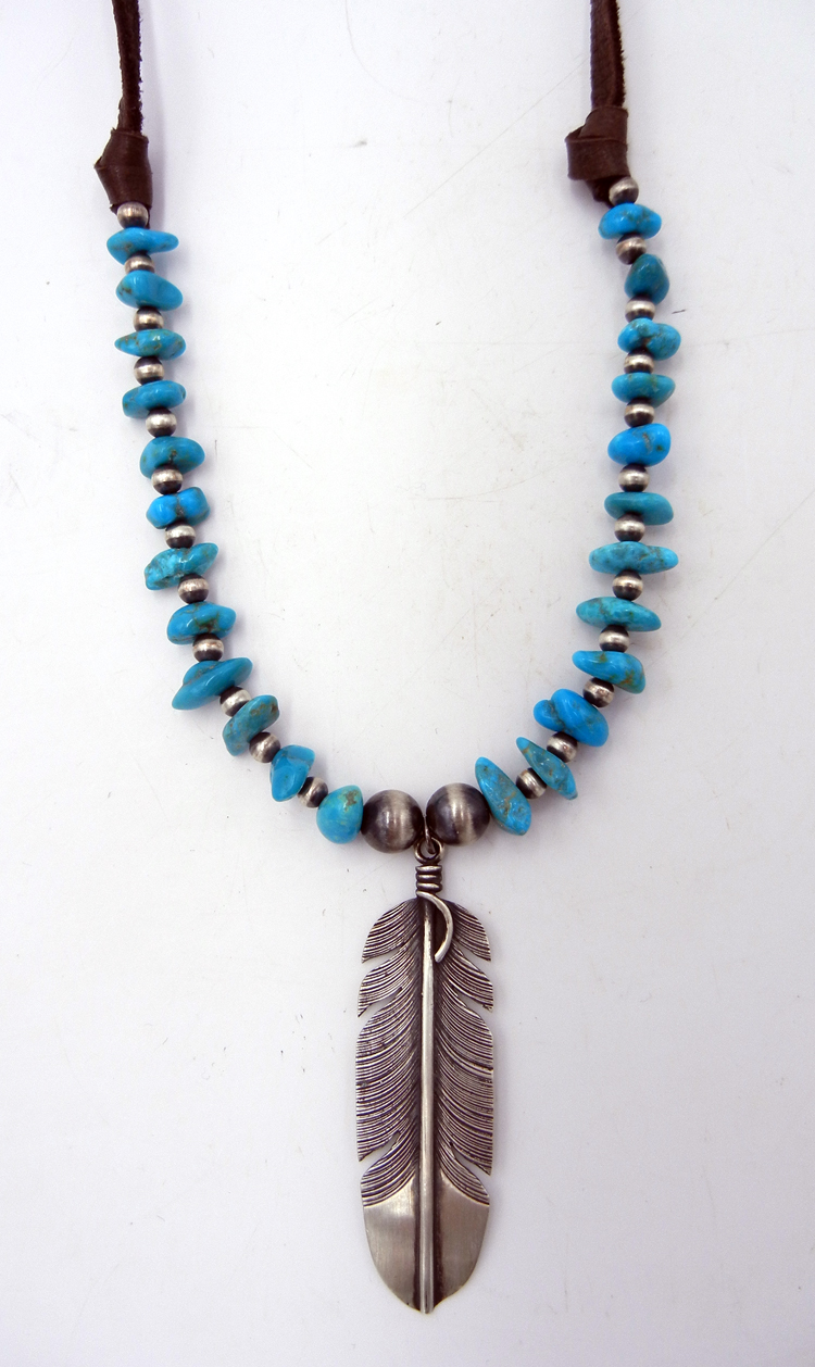 Navajo Turquoise and Sterling Silver Feather Necklace on Leather