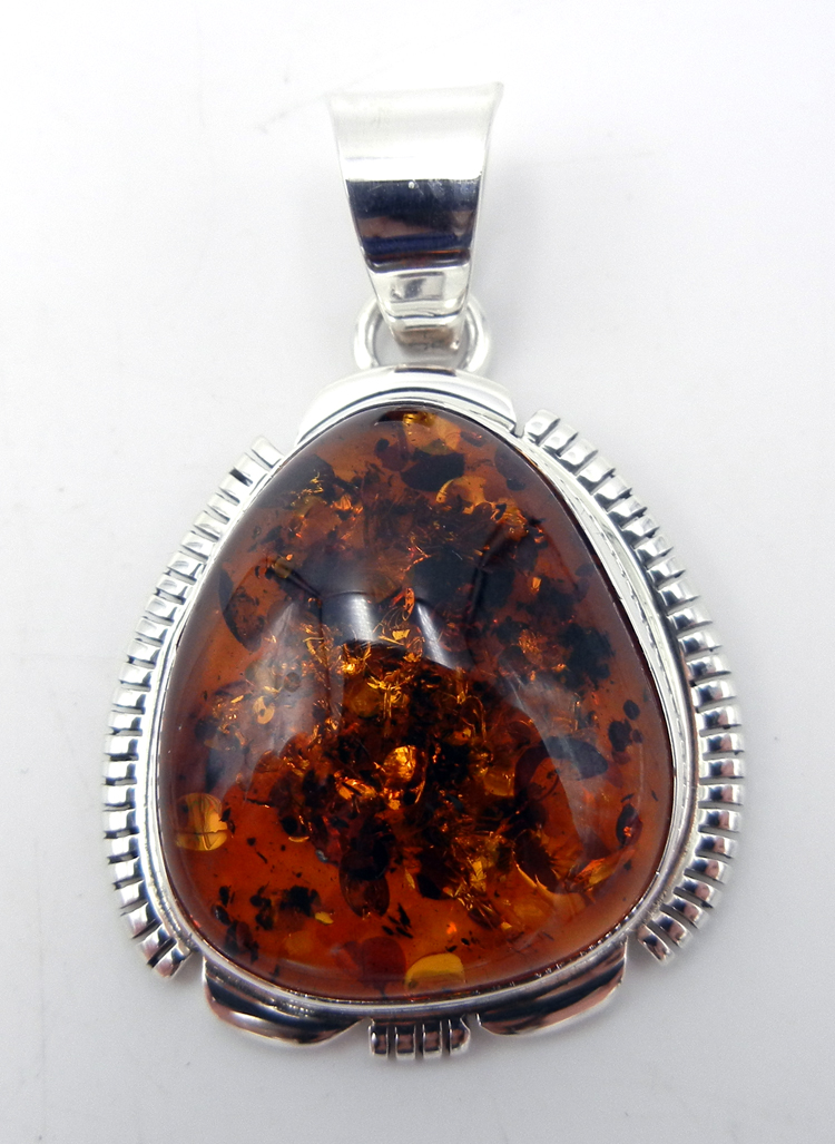 Navajo Thomas Francisco Amber and Sterling Silver Pendant