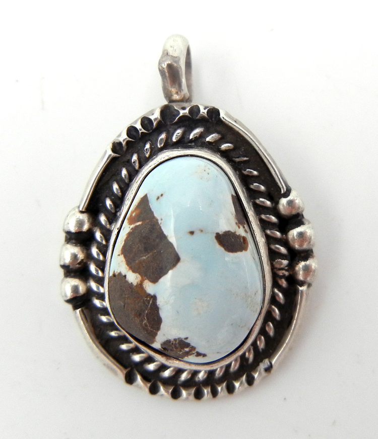 Navajo Juan Guerro Dry Creek Turquoise and Sterling Silver Pendant
