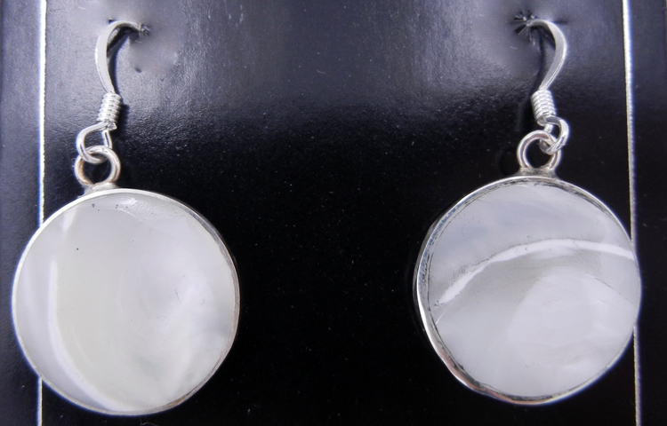 Santo Domingo Veronica Tortalita Mother of Pearl and Sterling Silver Earrings
