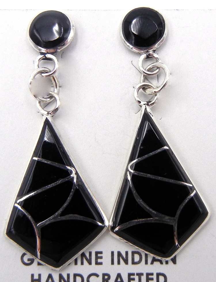 Zuni Jet and Sterling Silver Inlay Dangle Earrings