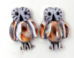 Zuni white mother of pearl and cowrie shell inlay owl earrings