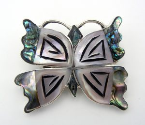 Zuni multi-stone inlay and sterling silver butterfly pin/pendant by Valeria Comosona