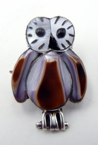 Zuni white mother of pearl and cowrie shell inlay owl pin/pendant