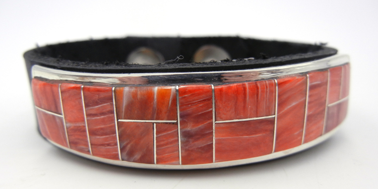 Navajo Edison Yazzie Red Spiny Oyster and Sterling Silver Inlay on Leather Bracelet