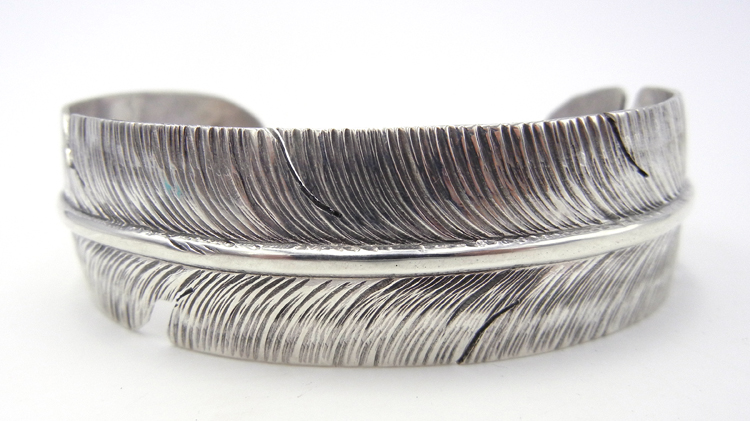 Navajo Ben Begay Sterling Silver Feather Cuff Bracelet