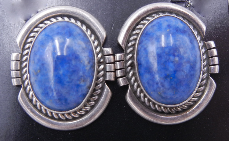 Navajo denim lapis and brushed sterling silver earrings