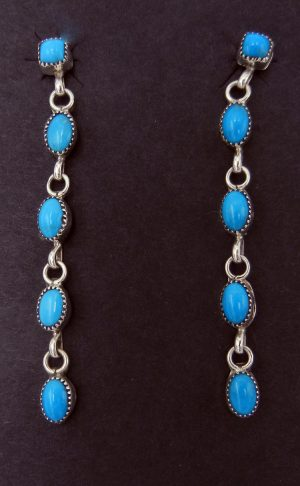 Navajo five stone turquoise and sterling silver dangle earrings