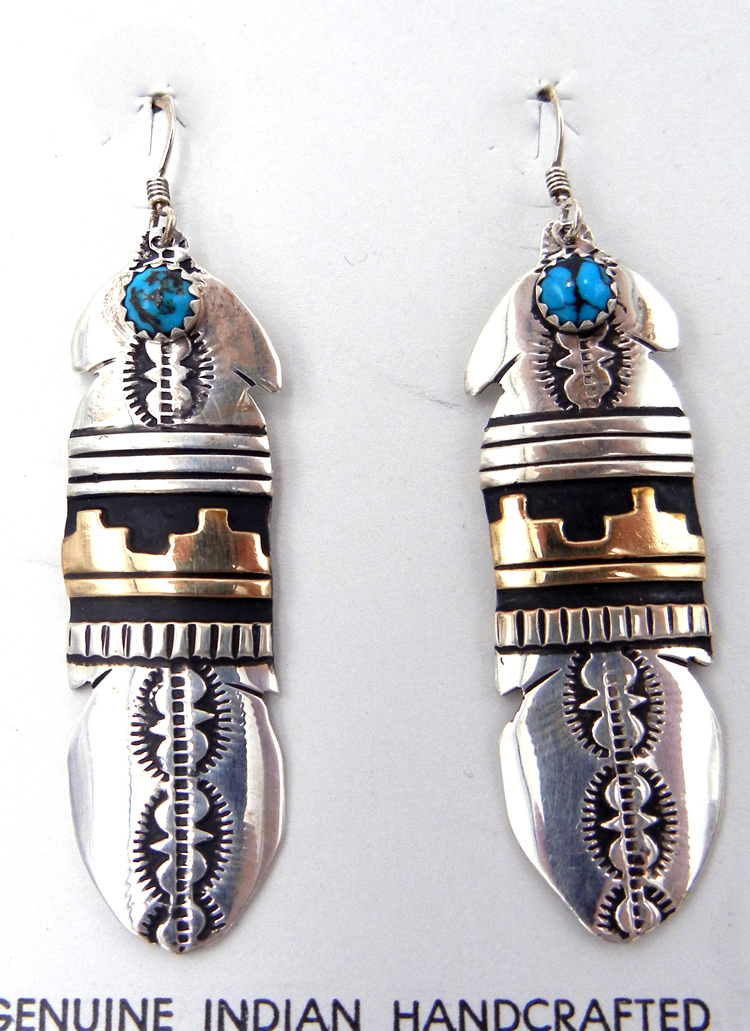 Navajo sterling silver and gold fill overlay and turquoise feather dangle earrings by Rosita Singer