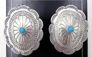 Navajo sterling silver and turquoise concho style earrings