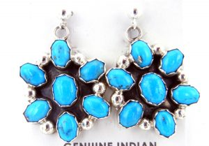 Navajo turquoise and sterling silver cluster earrings