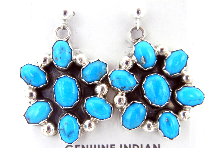 Navajo Pearlene Spencer Turquoise and Sterling Silver Cluster Earrings