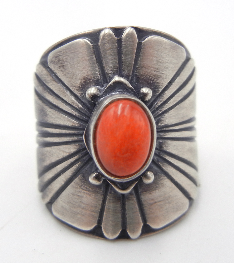 Navajo Sterling Silver and Red Spiny Oyster Ring