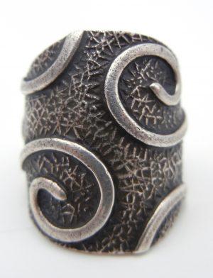 Navajo contemporary sterling silver applique swirl ring