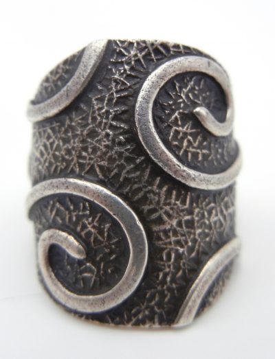 Navajo contemporary sterling silver applique swirl ring