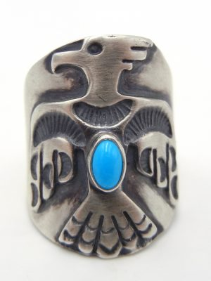 Navajo brushed sterling silver and turquoise thunderbird ring
