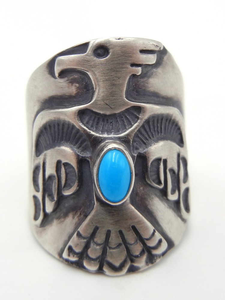 Navajo Turquoise and Brushed Sterling Silver Thunderbird Ring