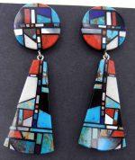 Santo Domingo multi-stone inlay earrings by Chris Nieto