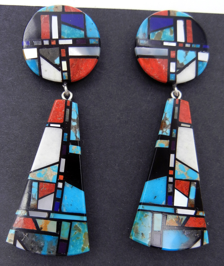 Santo Domingo multi-stone inlay earrings by Chris Nieto
