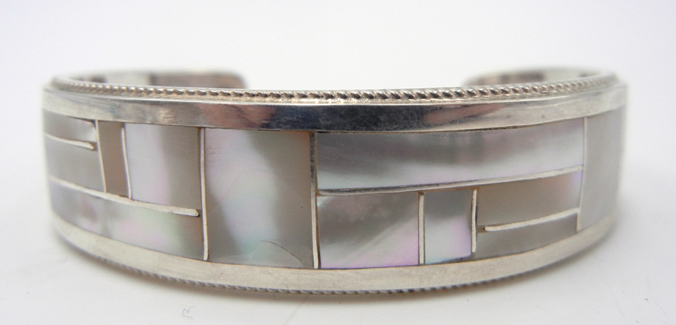 Zuni Rickel and Glendora Booqua White Mother of Pearl and Sterling Silver Inlay Cuff Bracelet