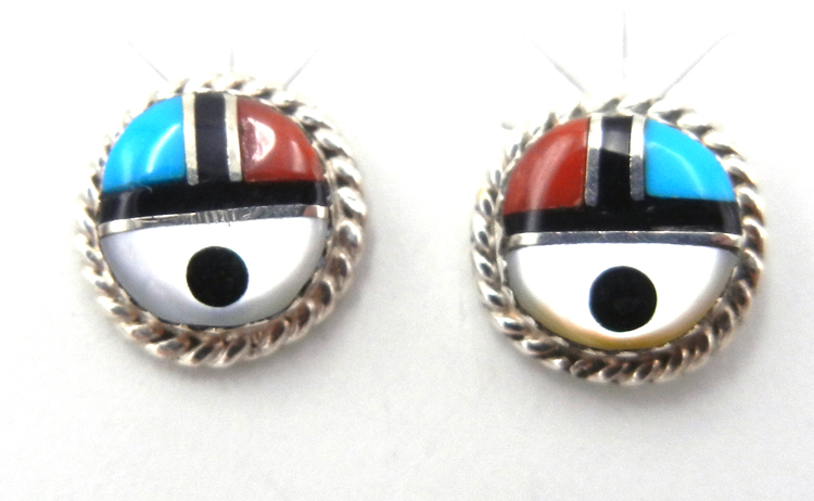 Zuni Small Multi-Stone Inlay and Sterling Silver Sunface Earrings