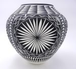 Acoma large black and white starburst design jar featuring fine lines by Kathy Victorino