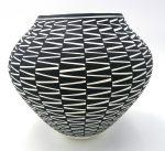 Acoma black and white zig zag pattern jar by Kathy Victorino