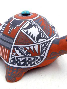 Jemez Scott Small Handmade Turtle Figurine with Turquoise Accents