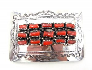 Navajo coral and sterling silver belt buckle by David Seger