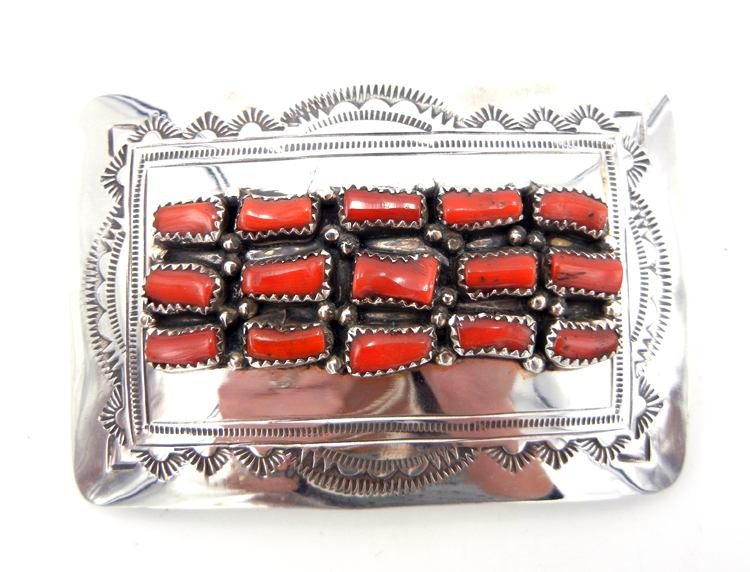 Navajo David Seger Coral and Sterling Silver Belt Buckle