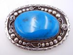 Navajo Kingman turquoise and sterling silver belt buckle