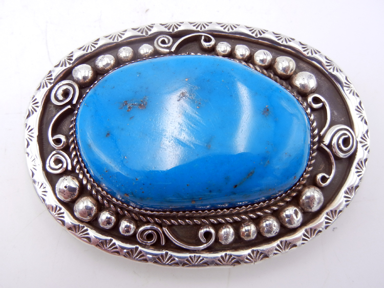 Navajo Kingman Turquoise & Sterling Silver Belt Buckle