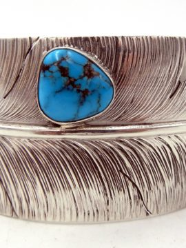 Navajo Ben Begay Wide Sterling Silver and Turquoise Feather Cuff Bracelet