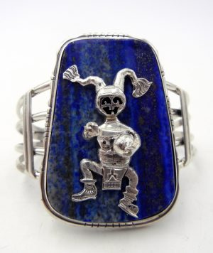 Navajo lapis and sterling silver koshare cuff bracelet by Bennie Ration