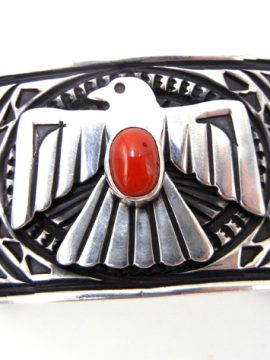 Navajo Coral and Sterling Silver Stamped and Applique Thunderbird Cuff Bracelet