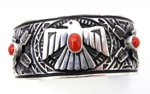 Navajo sterling silver and coral stamped and applique thunderbird cuff bracelet
