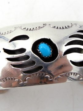 Navajo Pearlene Spencer Sterling Silver and Turquoise Shadowbox Bear Paw Cuff Bracelet