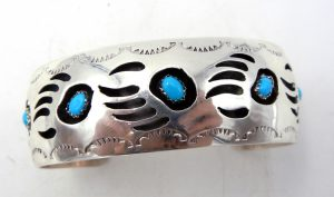 Navajo sterling silver and turquoise bear paw shadowbox cuff bracelet by Pearlene Spencer
