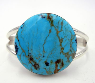 Navajo Kingman turquoise and sterling silver cuff bracelet by Peterson Johnson