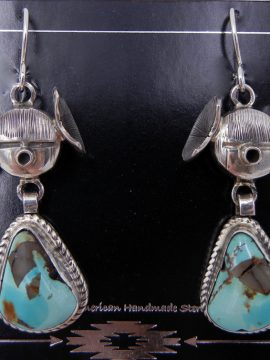 Navajo Bennie Ration Turquoise and Sterling Silver Maiden Earrings