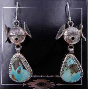 Navajo turquoise and sterling silver maiden earrings by Bennie Ration