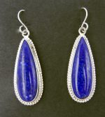 Navajo lapis and sterling silver dangle earrings