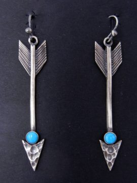 Navajo Brushed Sterling Silver and Turquoise Arrow Dangle Earrings